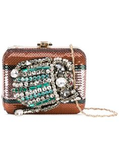 ROCHAS Embellished Clutch. #rochas #bags #shoulder bags #clutch #polyester #crystal #hand bags #