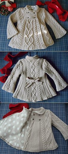 Knitted Coat for Girl Baby Knitting Patterns, Baby Cardigan Knitting Pattern Free, Knitting For Kids, Crochet For Kids, Knitting Stitches, Knitting Designs, Baby Patterns, Knit Crochet, Knitting Ideas
