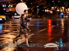 Experience Engagement – Gina & Jeff! » Milwaukee Wedding Photography – Front Room Photography Milwaukee Photographer- late night engagement - city lights - urban - rainy night photography - balloon - run - save the date - glamour - elegant - engaged