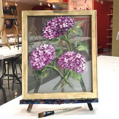 Rebeca Flott Arts - Julie's Hydrangeas is one of thousands of paintings we have on any given night at Painting with a Twist. Painted Window Screens, Painted Window Art, Painting On Glass Windows, Glass Painting Designs, Painting On Screens, Tole Painting, Painting Frames, Beginner Painting, Stained Glass Art