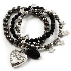 3-Strand Puffed Heart&Star Charm Flex Bead Bracelet (Black&Silver) Avalaya. $16.20. Type: bead jewellery, multi-strand, stretchy. Metal Finish: black tone, rhodium plated. Occasion: anniversary, casual wear, cocktail party, valentines day. Theme: heart, romance. Material: perspex (acrylic)