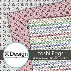 "Cute Yoshi Egg Pattern 12""x12"" Digital Paper Pack of 10 | Super Mario Bros | Video Game Paper | Nintendo | Scrapbook Supplies | Geeky Craft"