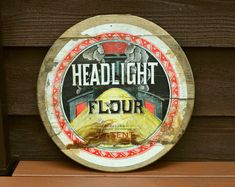 Headlight Flour Barrel Lid, Antique Barrel Lid Vintage Wall Sconces, Cottage Art, Packaging Supplies, Dining Room Walls, Towel Holder, Barrel, Gallery Wall, Antiques, Etsy