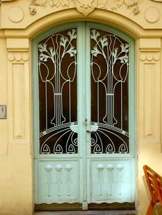 Puerta Art Nouveau, en Gorazdova, Nové Mesto, Praga
