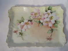 Antique Porcelain Perfume Trays | antique Germany hand-painted wild rose china vanity table perfume tray