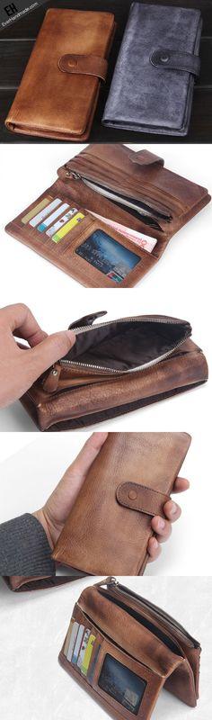 Handmade men long leather wallet men bifold vintage gray brown long