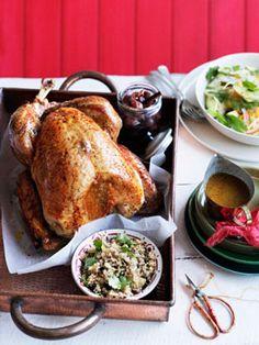 Roast turkey with burghul, preserved lemon and pine nuts. #food #Christmas #dinner
