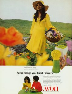 Avon Vintage Ad from 1970s. Headline: Avon brings you Field Flowers. Fresh from the place where fragrance is born.