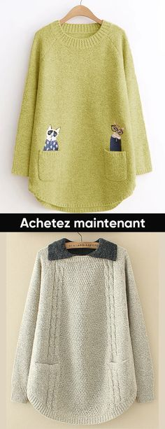 Hot sale lapel sweaters for women. Hot sale lapel sweaters for women. Pullover Outfit, Pullover Mode, Sweater Fashion, Sweater Outfits, Sewing Clothes Women, Clothes For Women, Crochet Clothes, Bohemian Mode, Embroidery Fashion