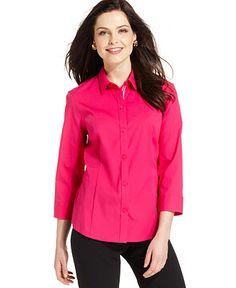 Jones New York Three-Quarter-Sleeve Button-Front Shirt - Tops - Women - Macy's
