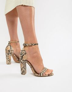 ASOS DESIGN | ASOS DESIGN Wide Fit Highball barely there heeled sandals in snake
