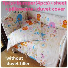 4bumpers+sheet Bright Promotion 5pcs Children Bedding Set Piece Crib Bumper Crib For Baby,