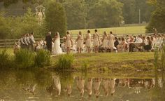 looking at wedding ceremony over pond-- so picturesque!!