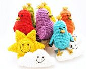 Crochet baby mobile with birds and clouds - colorful nursery decor - FREE SHIPPING