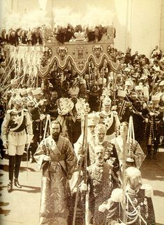 The procession of Tsar Nicholas II after his crowning, 1896. The last Emperor of Russia, which later after he was gone, was the way Russia was able to move forward after other wars, making this a human interaction.