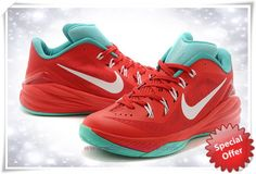 new styles 87a00 c6b73 Mens 706505-063 Red  White  Court Green Nike Hyperdunk 2014 Low Bianco,