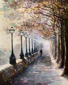 'Strolling Home' by Gleb Goloubetski Oil on Canvas 100cm x 80cm