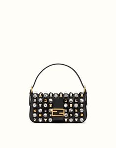 FENDI | BAGUETTE leather shoulder bag with studs and rhinestones