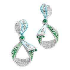 Fabergé earrings from the Summer in Provence high jewellery collection, set with emeralds and diamonds and finished with hand-painted enamel.