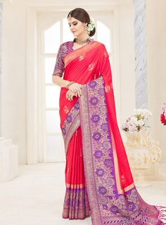 6fdeada7b10bd Buy Red Silk Saree With Blouse 144386 with blouse online at lowest price  from vast collection of sarees at Indianclothstore.com.