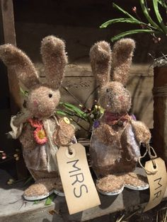 Hello and Thank you for stopping in,  These two adorable grubby rabbits are all dressed up for Spring / Easter. They are made on a wood base