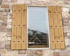 Cedar Farmhouse Style Shutters with Hammered Metal Clavos - Rustic Farmhouse Window Shutters - Cedar Shutters - Rustic Cedar Shutters Country Shutters, Modern Shutters, Farmhouse Shutters, Rustic Shutters, Farmhouse Windows, Rustic Doors, Rustic Farmhouse, Farmhouse Style, Rustic Barn
