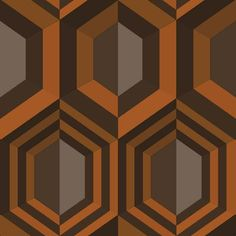 Muriva Wallpaper | Kinetic 3D Hexagons Orange | j40705