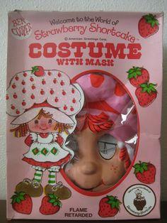 Vintage Ben Cooper Strawberry Shortcake Halloween Costume Mask In Box Size Large   eBay