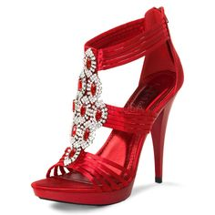 Strappy Sandals with Gem Jewels - Red