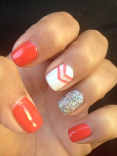 Orange nails with chevron and glitter nail