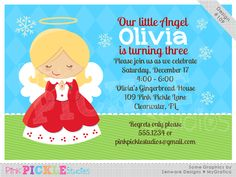 Sweet Angel Personalized Party Invitation-personalized invitation, photo card, photo invitation, digital, party invitation, birthday, shower, announcement, printable, print, diy,winter, snow