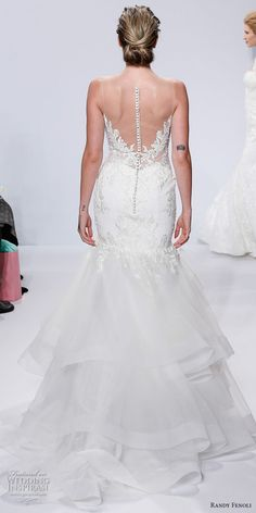 randy fenoli spring 2018 bridal strapless sweetheart neckline heavily embellished bodice layered skirt elegant mermaid wedding dress sheer button back chapel train (15) bv -- Randy Fenoli Bridal Spring 2018 Wedding Dresses