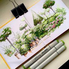 Landscape Architecture Drawing, Architecture Sketchbook, Landscape Sketch, Landscape Design Plans, Landscape Drawings, Watercolor Landscape, Art Sketchbook, Landscape Art, Drawing Sites
