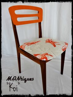 """""""Koi""""  A stunning set of 5 dining chairs, Teak frames polished to show off the wood grain, seats have been covered in funky Koi fish fabric and the backrests has been finished in Orange to make these chairs pop"""