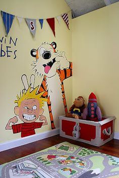 Calvin and Hobbes mural, I wish I'd done this in my son's room! That would have been a fun theme!