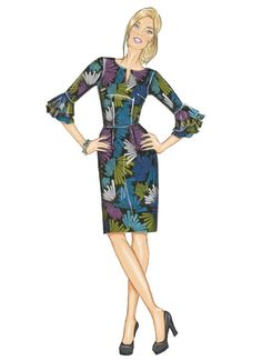 Butterick B6515 Misses' Dress with Ruffle Variations. #sewingpattern #butterick