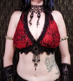 Halter, A, D and DD Cup, Black and Light Blue Floral Sparkle, Noir, Bellydance, Costume, Tribal, Fusion, Bra, Gothic