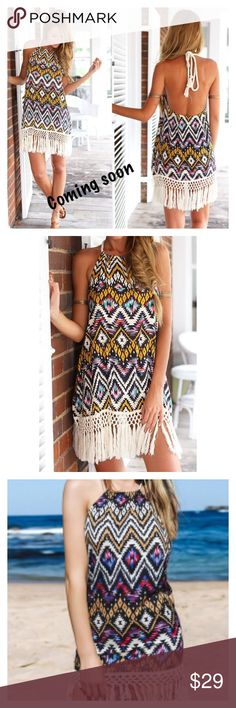 Bohemian Halter Floral Fringe Sleeveless Dress bohemian Straight Dress. Beautiful with fringe hem. Halter style neckline.  Sleeveless. Size 8/10. Bust approximately 35 inches length approximately 31.5 inches. I'll measure myself when item arrives. Dresses Mini