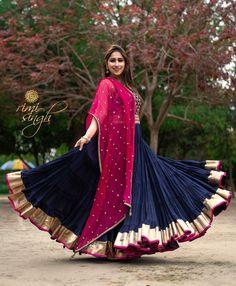 *Festive season special* This dress is heavily curated with *golden kasab embroidery* and *handwork* with degree morpankh* flare! Lehenga Choli Designs, Saree Blouse Designs, Garba Dress, Navratri Dress, Lehnga Dress, Designer Anarkali, Chaniya Choli Designer, Indian Gowns Dresses, Indian Fashion Dresses