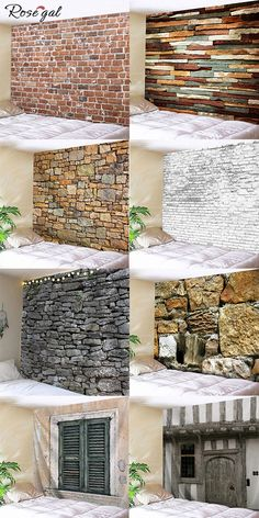 Brick wallpaper Tapestry for brick wall decor decoration Source by Exterior Wall Design, Interior Design Living Room, Interior Decorating, Stone Wall Design, Brick Design, Design Design, Brick Wall Decor, Metal Wall Decor, Brick Wallpaper