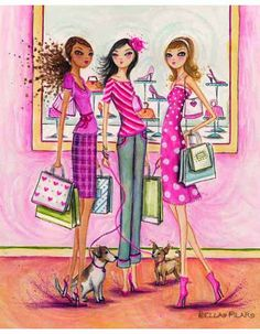 Girlfriends and shopping just go together!!   All artwork Copyright Bella PilarImage