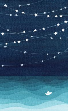 phone wall paper ocean Garlands of stars, watercolor teal ocean Window Curtains Ocean Wallpaper, Painting Wallpaper, Cute Wallpaper Backgrounds, Cute Canvas Paintings, Small Canvas Art, Night Aesthetic, Blue Aesthetic, Aesthetic Pastel Wallpaper, Aesthetic Wallpapers