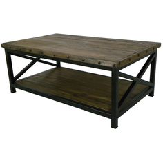 """Features:  -Reclaimed wood.  -Industrial design.  Top Finish: -Brown.  Base Finish: -Brown.  Top Material: -Solid Wood.  Base Material: -Metal. Dimensions:  Overall Height - Top to Bottom: -20"""".  Over"""
