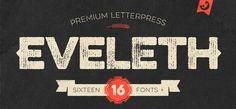 Eveleth font by Yellow Design Studio – rich in texture retro Caps