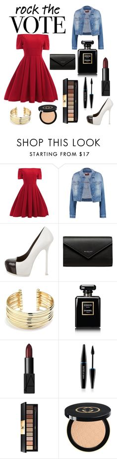 """Untitled #3"" by soniacox ❤ liked on Polyvore featuring 7 For All Mankind, Yves Saint Laurent, Balenciaga, Belk Silverworks, Chanel, NARS Cosmetics, MAKE UP FOR EVER and Gucci"