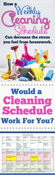 A Weekly Cleaning Schedule which claims it decrease your stress towards housework'.not having to do any, would relief my stress a whole lot. Weekly Cleaning, Deep Cleaning Tips, House Cleaning Tips, Natural Cleaning Products, Cleaning Solutions, Spring Cleaning, Cleaning Hacks, Cleaning Schedules, Cleaning Checklist