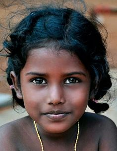 Girl with black hair in braids, India #Beautiful Child