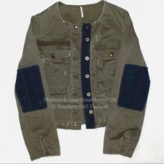 Free People Jackets & Coats - FREE PEOPLE Jacket Military Distressed Bomber Top