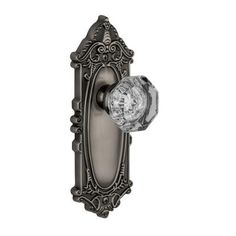 Grandeur Grande Victorian Antique Pewter Plate with Passage Chambord Crystal Knob-GVCCHM-10-AP - The Home Depot