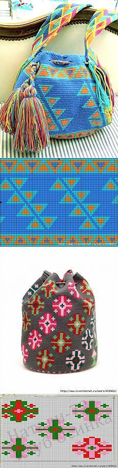 The Colombian wetted. Crochet Chart, Crochet Stitches, Knit Crochet, Filet Crochet, Crochet Handbags, Crochet Purses, Crochet Bags, Tapestry Crochet Patterns, Knitting Patterns